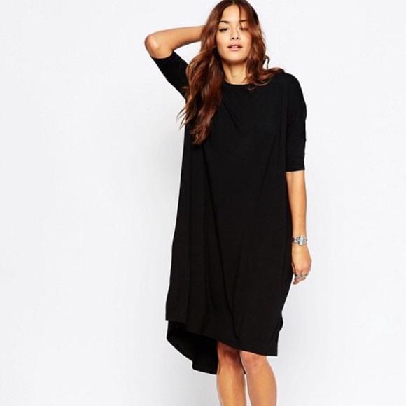 Asos Dresses Black Oversized Draped T Shirt Dress 10 Poshmark